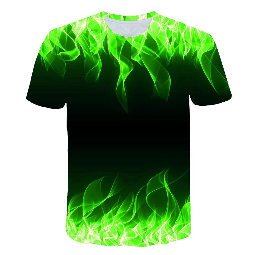 2019 New green Flaming tshirt Men Women   t     shirt   3d   t  -  shirt   Black Tee Casual Top Anime Camiseta Streatwear Short Sleeve Tshirt