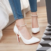 Women Pointed High Heels Shoes Woman Single Shoes Thin Heels Buckles Beads Wedding Shoes Nude Red Bottom Pumps Big Size 32 46 48