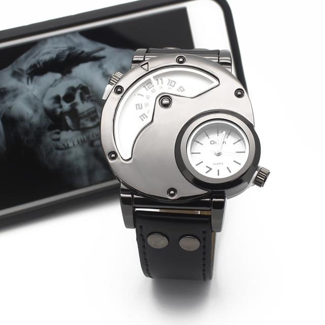 Grandes hombres reloj movimiento OTEX reloj para hombre exterior militar hombres reloj de cuarzo de doble correa de piel