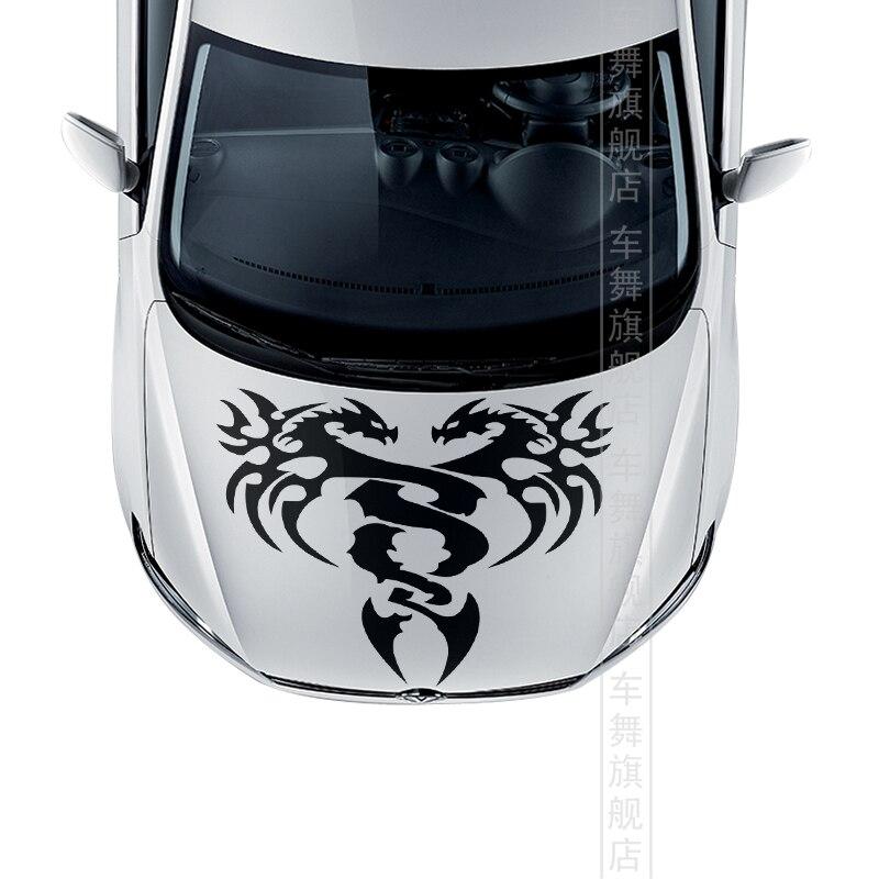 Deux dragons motif capot de voiture décor autocollant, mode tête de voiture autocollants et décalcomanies pour n'importe quelle voiture, voiture style autocollants en vinyle