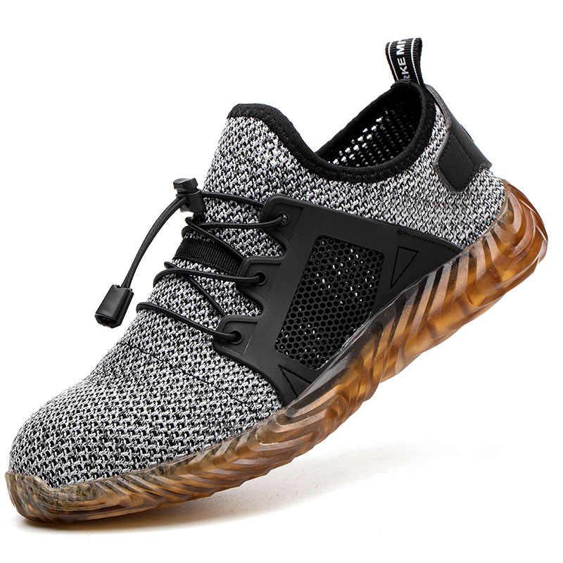 夏の男性の屋外通気性メッシュ鋼つま先抗スマッシング安全靴メンズライト穿刺プルーフ快適な作業靴ブーツ