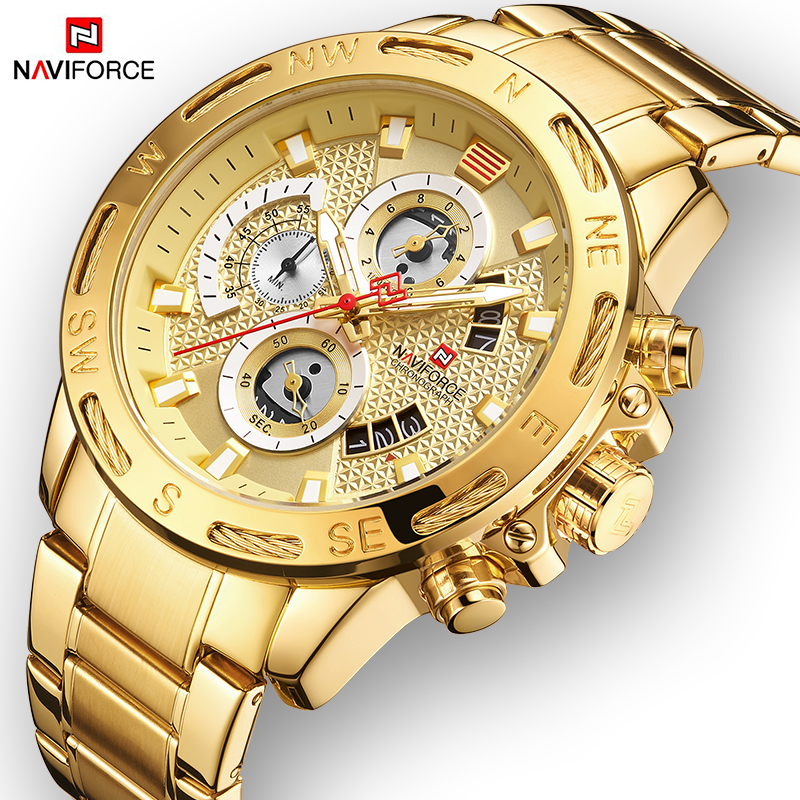 NAVIFORCE Men Watches Sport Waterproof Stainless Steel Fashion Luxury Gold Watch Date Clock Quartz Wristwatch Relogio Masculino