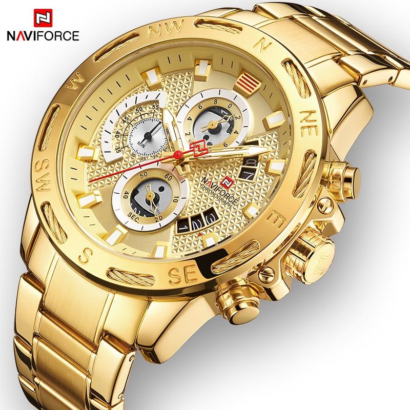 NAVIFORCE hommes montres Sport étanche en acier inoxydable mode luxe or montre Date horloge Quartz montre-bracelet Relogio Masculino