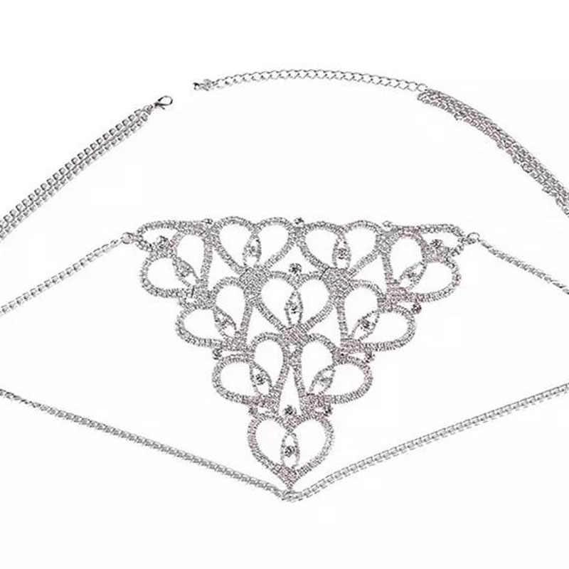 Stonefans Seksi Bling Kristal Iç Çamaşırı Takı Kalp Şekilli Kadınlar için Parlak Vücut Bel Zinciri Taklidi Tanga Bikini Takı