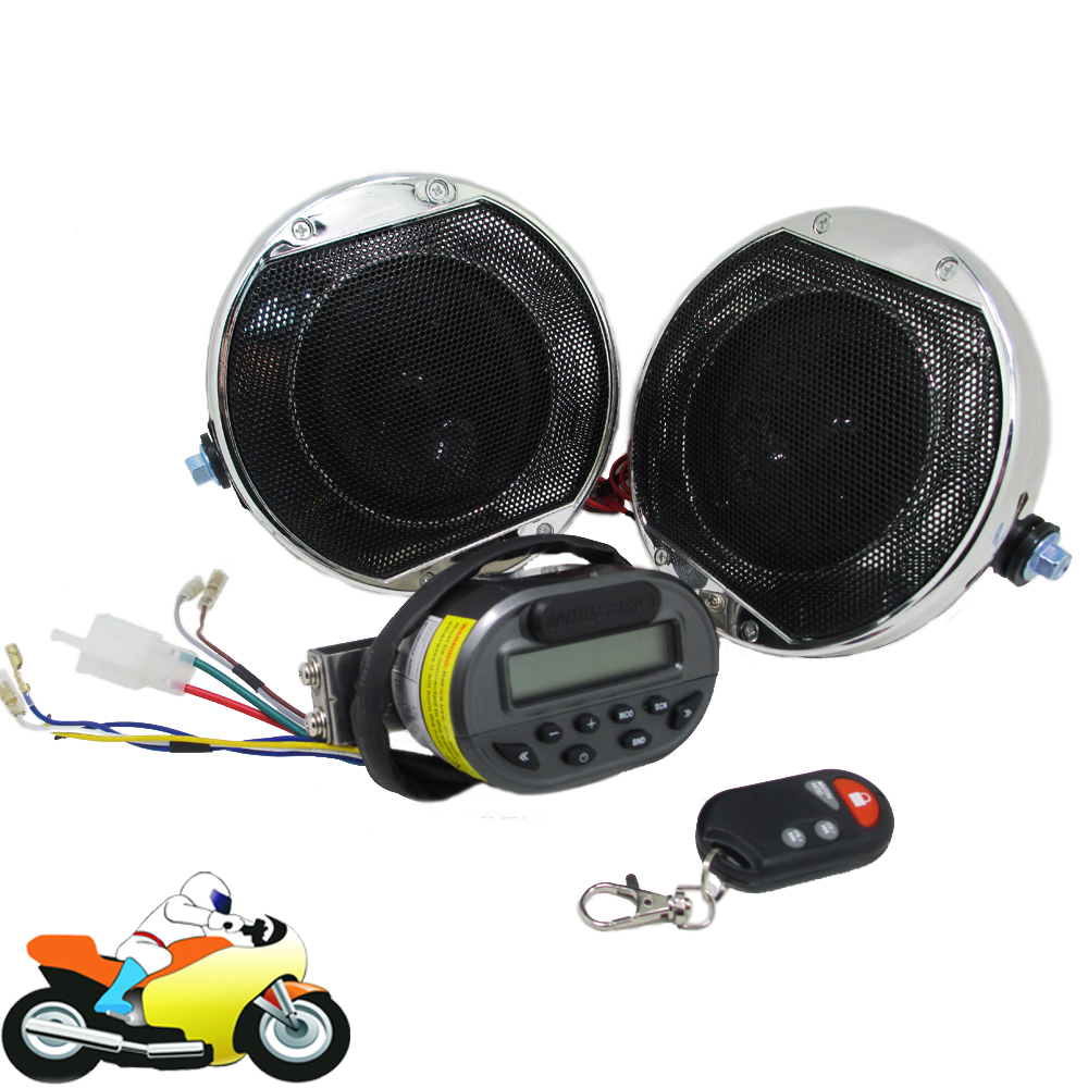 Motorcycle Audio Amplifier System Handlebar Stereo Speakers Loudspeakers Remote Control FM Radio MP3 Player SD MMC Card USB Slot