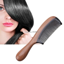 Pro Natural Ox Horn Green Sandalwood Fragrant Comb Wooden Handle Combs Hair Care B118