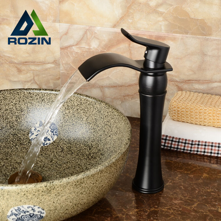 High quality Oil Rubbed Bronze Waterfall Bathroom Basin Faucet Single Handle Sink Mixer Tapgrifo para lavabo allen roth brinkley handsome oil rubbed bronze metal toothbrush holder