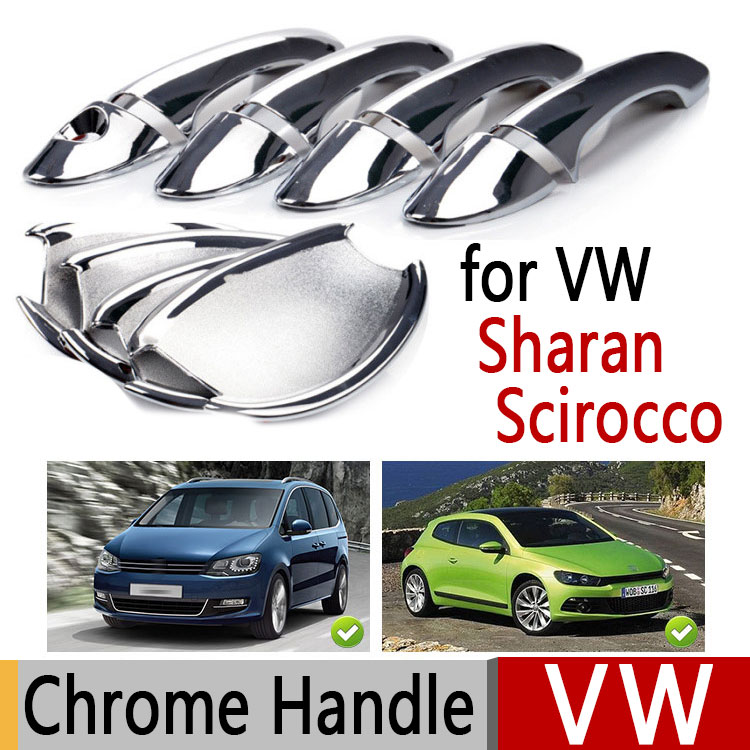 Hot Sale For VW Sharan Scirocco Luxurious Chrome Exterior Door Handle Covers Volkswagen Accessories Stickers Car Styling hot sale abs chromed front behind fog lamp cover 2pcs set car accessories for volkswagen vw tiguan 2010 2011 2012 2013