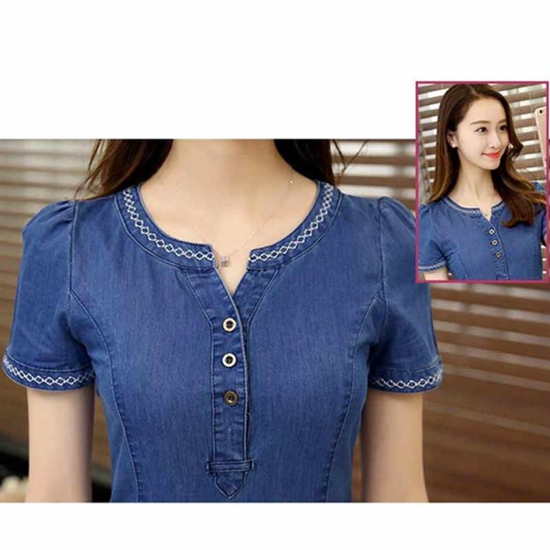 2018 Новое модное женское летнее джинсовое платье Корея с коротким рукавом Джинсы тонкое платье сексуальное v-образным вырезом женское повседневное джинсовое платье одежда 3XL