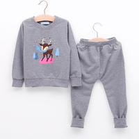 2017 New Kids Clothes For Girls Set Leisure Animal Picture Long-sleeves+Long-trousers 2Pcs Suit Wear 3-7 Years Old Girls Clothes