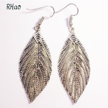 RHao Hot Sale Besar Daun Panjang earrings wanita wedding party perhiasan aksesoris Antik perak daun jatuhkan dangle earrings(China)