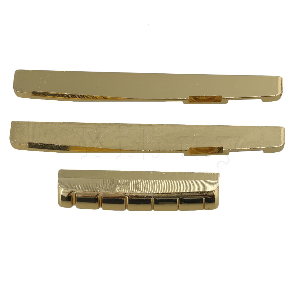 Yibuy Golden Brass Two 7.6cm Bridge Saddle and 4.3cm Slotted Nut Replacement Parts for Folk Guitar yibuy 300 x acoustic guitar white bone abalone dot brass circle bridge end pins