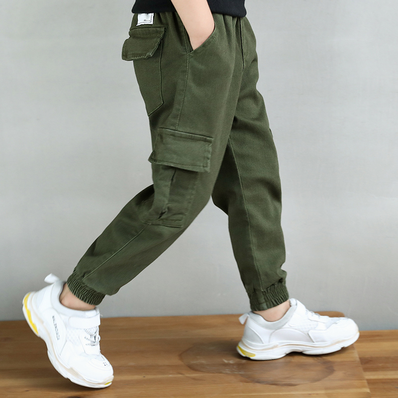 Image 2 - New 2019 Autumn Teens Jeans For Boy  green Baby Boys Jeans Pants Designer Kids Jean Children's Elastic Waist Denim Long Pant-in Pants from Mother & Kids