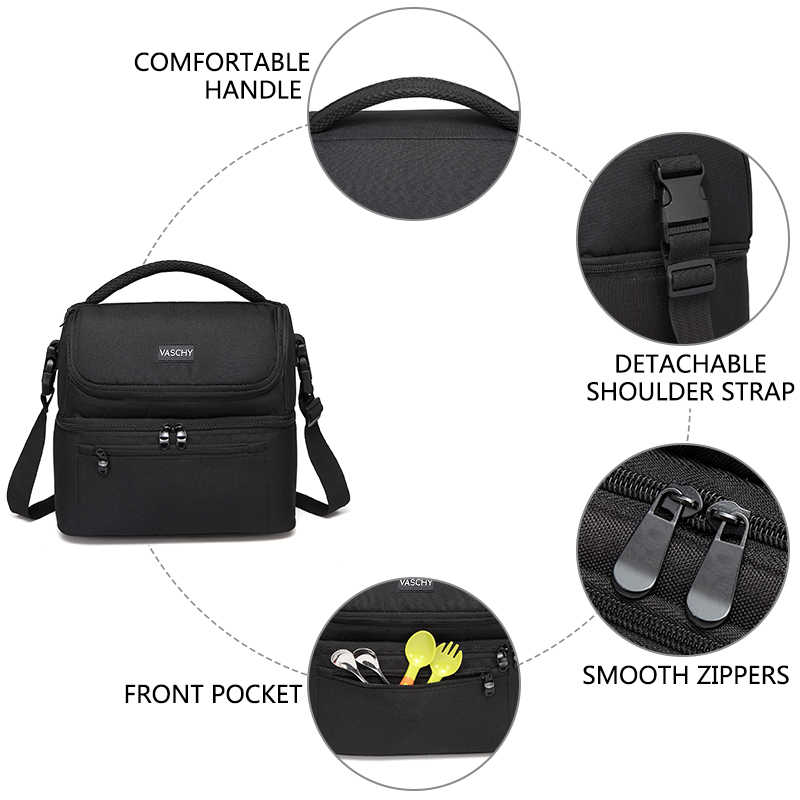 VASCHY Insulated Lunch Box Leak-proof Cooler Bag in Dual Compartment Lunch Tote for Men Women 14 Cans Wine Bag  Cooler Box