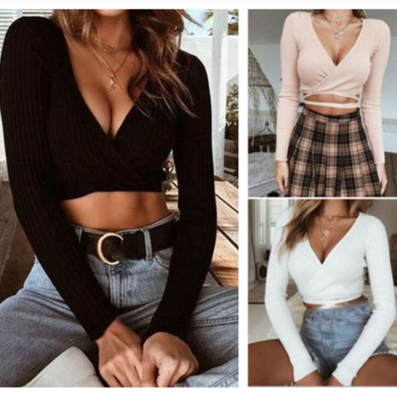 2019 Sexy Womens T-Shirt Summer Slim Crop Tops Long Sleeve T Shirt Casual Solid V Neck Knitted Short Tops