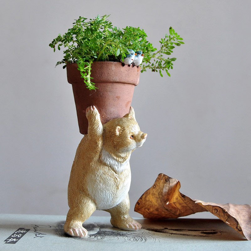 Everyday Collection Mini Cute Fairy Garden Animal Flowerpot Home Decoration Bear Pot For Flowers Hydroponics Planter Pots(China)