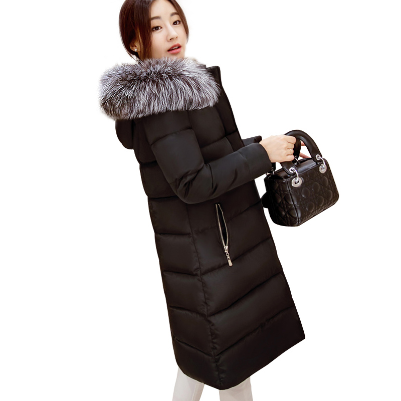 ФОТО 2016 Winter Jacket Women Faux Fur Collar Hooded Cotton Padded Coat Female Thickening Long Jackets Warm Parkas Manteau Femme 219