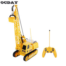 OCDAY Toys RC Car Excavator Crawler Digger Music Light Wireless Remote Control Crane Model Car Electric