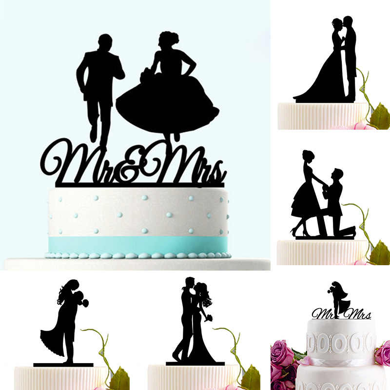 Acrylic Wedding Cake Topper Bride Groom Mr Mrs Acrylic Cake Topper Sweet Wedding Decoration Mariage Party Supplies Adult Favors