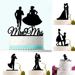 Image 1 - Acrílico bolo de casamento topper noiva noivo mr mrs acrílico bolo topper doce decoração de casamento mariage festa suprimentos adulto favores