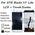 100% prueba de negro/blanco/oro para zte blade v7 lite lte pantalla táctil digitalizador + ensamblaje de la pantalla lcd de reemplazo envío gratis