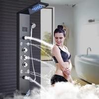 Ванная комната светодиодный Насадки для душа кран черный дождь водопадом, душ Панель комплект тело струй с рук спрей стены ванной носик