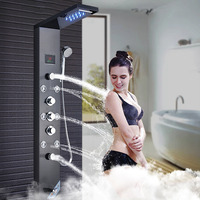 Bathroom LED Shower Head Faucet Black Rain Waterfall Shower Panel Set Body Jets with Hand Spray Wall Tub Spout