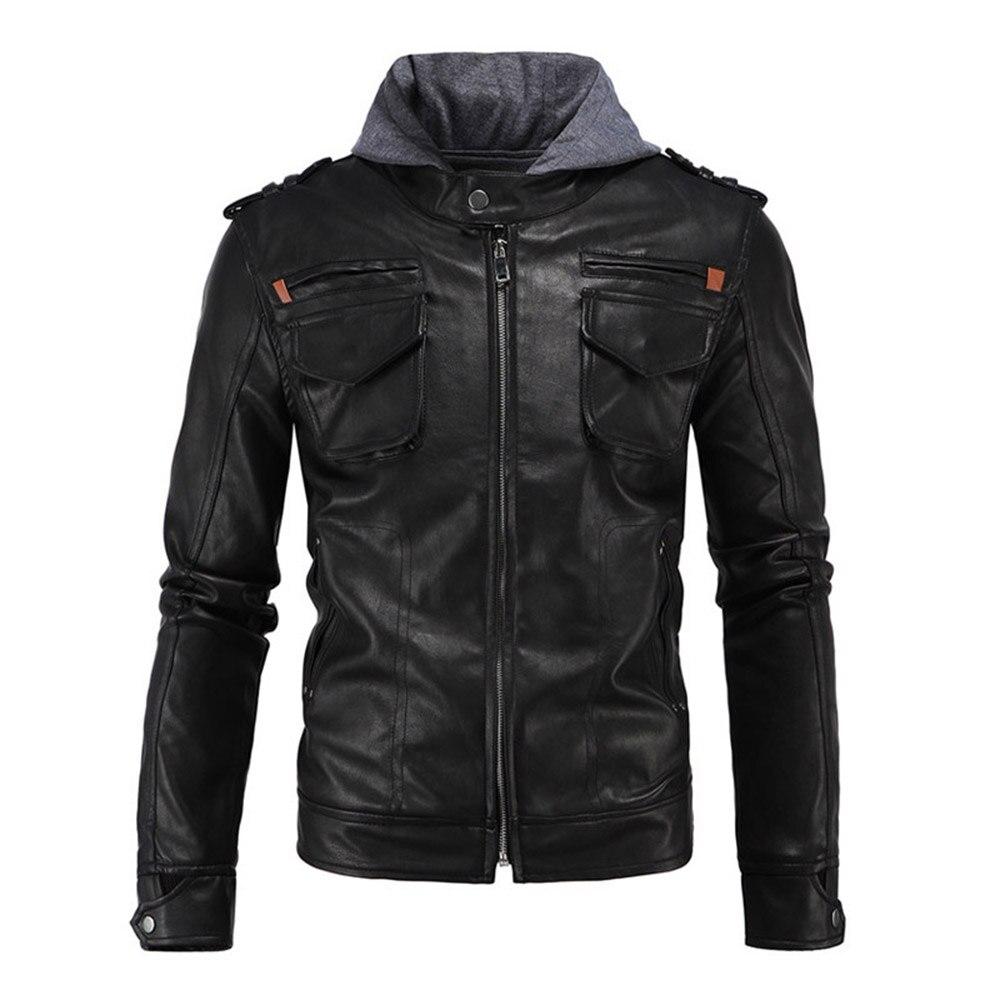 Herobiker Retro Windproof Motorcycle Jacket Man Black Moto Jacket With Hat Hoodie Punk Faux Leather Jacket