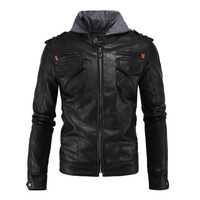 Herobiker Retro Windproof Motorcycle Jacket Man Black Moto Jacket With Hat Hoodie Punk Faux Leather Jacket Motorcycle Size M 5XL