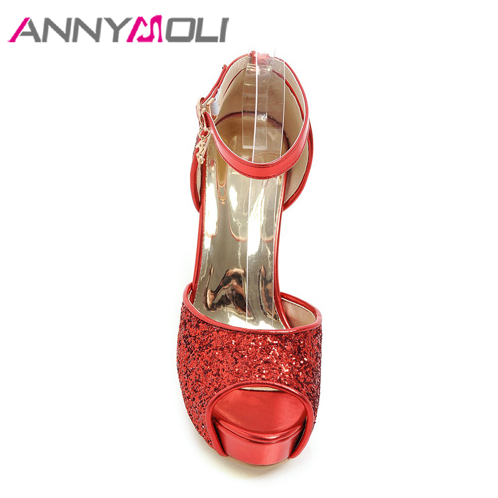 48e6a20339905 ANNYMOLI Women Sandals Platform High Heels Bridal Shoes Buckle Ankle Strap  Open Toe Shoes Glitter Thick Heels 2018 New Size 43-in High Heels from Shoes  on ...