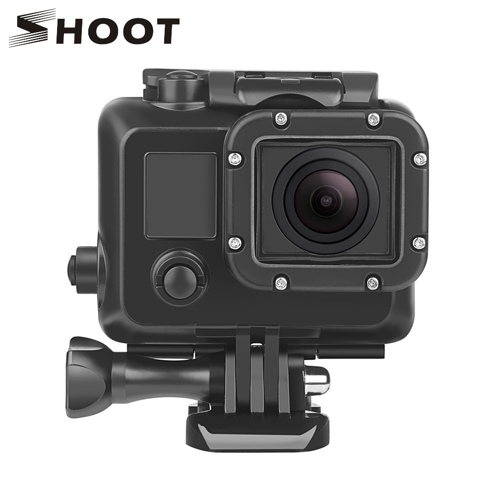 SHOOT 45m Underwater Diving Waterproof Case for GoPro Hero 4 3+/4 Action Camera Protective Housing Shell Mount Go Pro Accessory side open skeleton housing protective case cover mount for gopro hero 4 3 new z09 drop ship