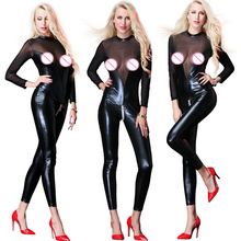 Ladies Black Sexy Latex Wetlook Mesh Zipper Open Crotch Catsuit Faux Leather Bodysuit Womens Spandex Jumpsuit Sexty Clubwear