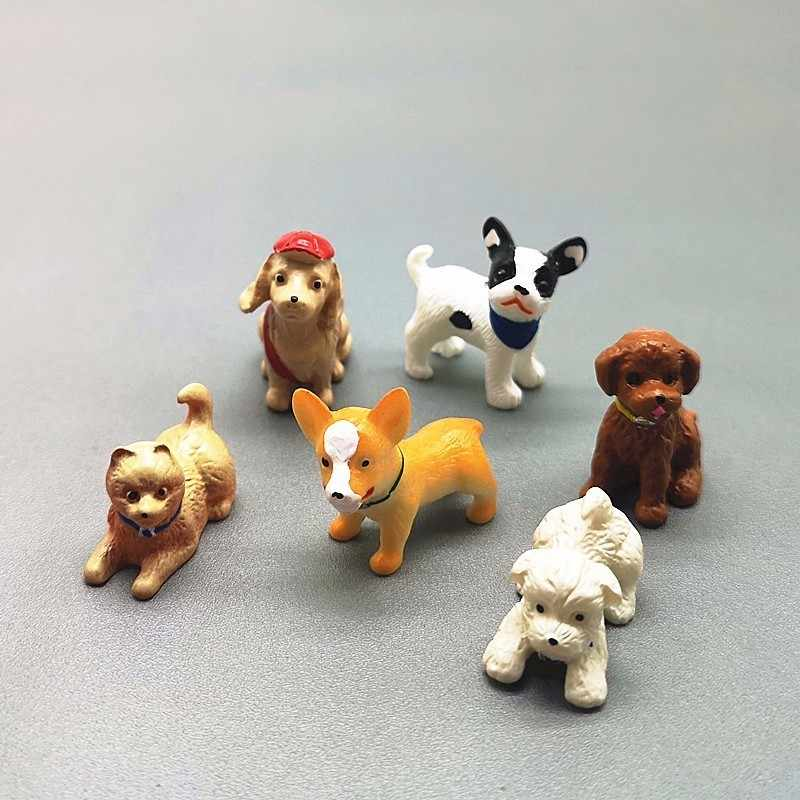 6pc Dog Animal Set Miniature Dollhouse Ornament Mini Toy Home Craft Fairy Bonsai Decor Cake Decoration DIY Accessories