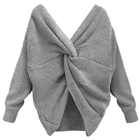 2017 New 4 Colors V Neck Twisted Back Sweater Women Jumpers Pullovers Long Sleeve Knitted Sweaters