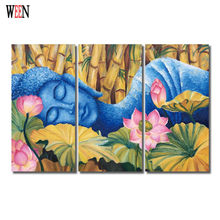WEEN HD Printed Buddha Wall Pictures For Living Room 3 Piece Buddha lying flowers Canvas Art Cuadros Decoracion Poster No Frame(China)