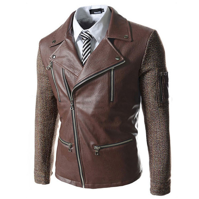 2016 New Arrivla Men turn Down Collar Leather Jackets Patchwork Design men fake Zipper Pu jackets Slim fit coat