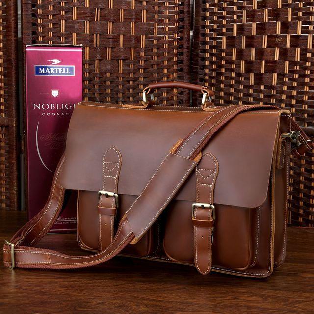 13e3de441a96 Men Crazy Horse Leather Portfolio Laptop Bag men High quality Leather  Briefcase Messenger Shoulder Handbag tote