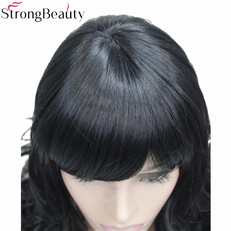 Image 5 - StrongBeauty 合成ミディアムカーブラウンブラックブロンド系 Amrican 女性の前髪とwig blackwig black curlywig brown -