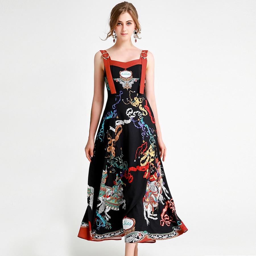 VERDEJULIAY รันเวย์ฤดูร้อนชุดผู้หญิง 2019 ใหม่แฟชั่นสปาเก็ตตี้สายคล้องดอกไม้พิมพ์โบว์ยาว Designer ชุด Vestidos-ใน ชุดเดรส จาก เสื้อผ้าสตรี บน   1