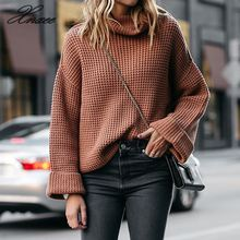 Xnxee2019 autumn and winter new European American explosion models high collar loose sweater ladies