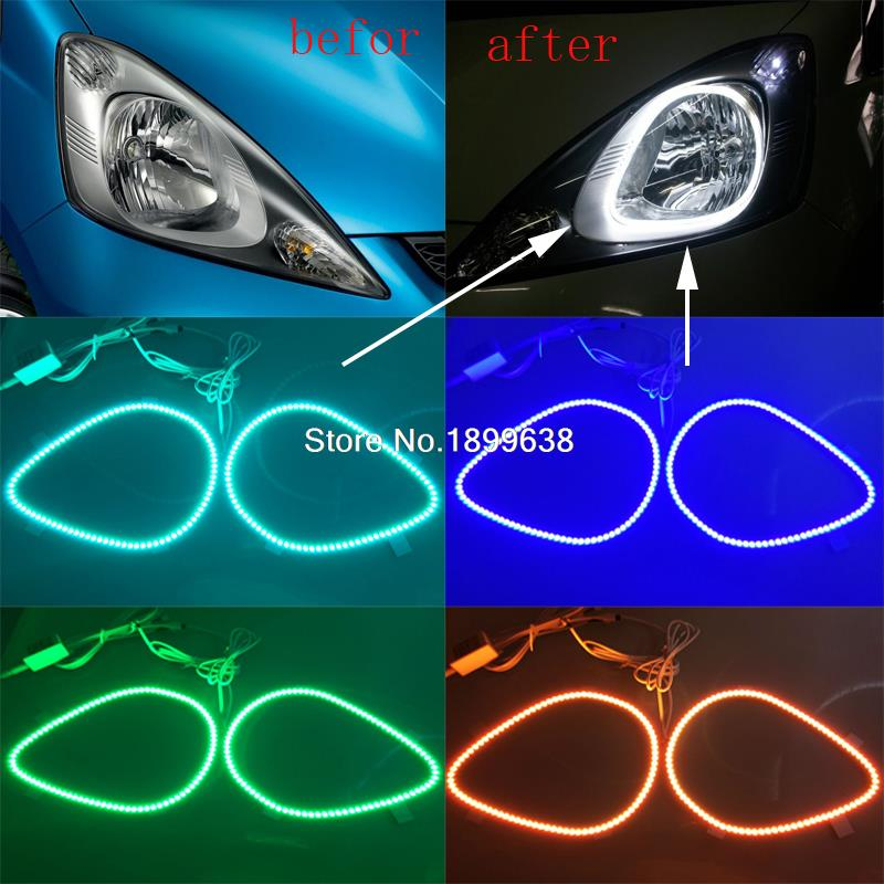 2pcs Super bright 7 color RGB LED Angel Eyes Kit with a remote control car styling for honda fit jazz 2009 2010 2011 2012 2013 2pcs super bright rgb led headlight halo angel demon eyes kit with a remote control car styling for ford mustang 2010 2012