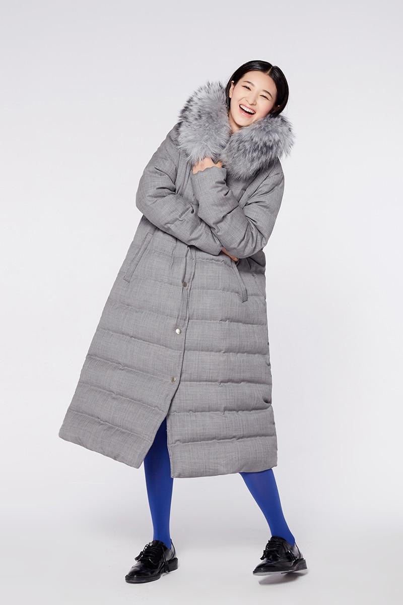 2018 Lâche Collier Duvet Canard Gris De Réel Détachable Veste Blanc Laveur Femmes D'origine Épais Manteau Longue D'hiver Fourrure Raton Chaud 1ERZ1qrw