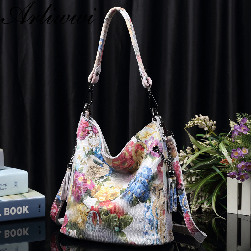 Image 2 - Arliwwi Brand High Class Shiny Floral REAL LEATHER Women Handbags Bags Fashion 2019 New Genuine Cow Leather Blossom Designer Bag-in Shoulder Bags from Luggage & Bags