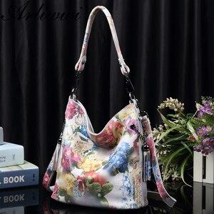 Image 2 - Arliwwi Marke Hohe Klasse Shiny Floral ECHT LEDER Frauen Handtaschen Taschen Mode Neue Echte Kuh Leder Blossom Designer Tasche GY01