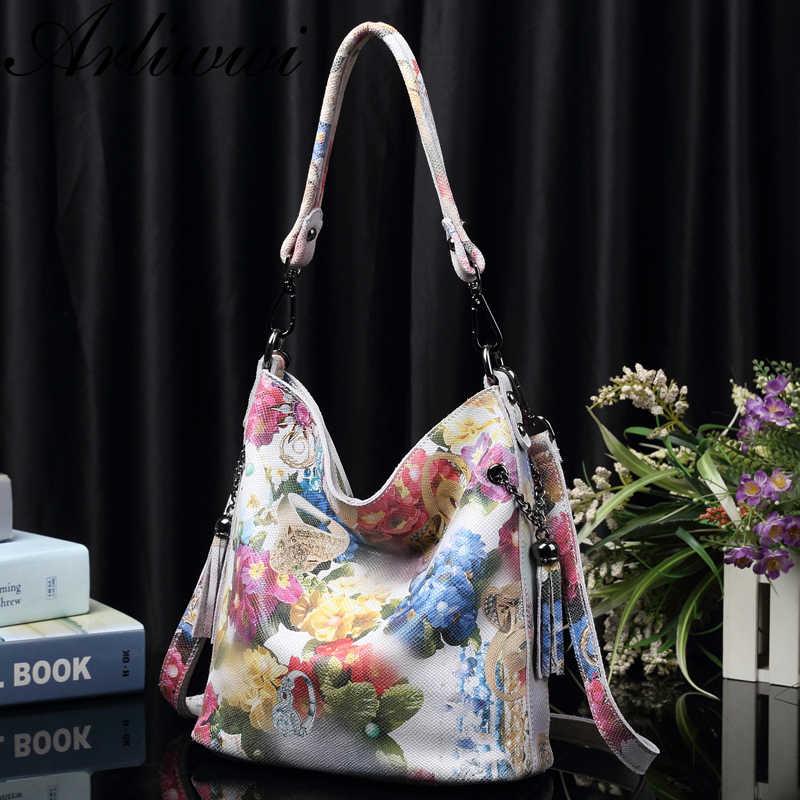 Arliwwi marka yüksek sınıf parlak çiçek gerçek deri kadın çanta çanta moda yeni hakiki inek deri çiçeği tasarımcı çantası GY01