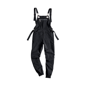 Spring and Summer Men's Casual Jumpsuit Fashion Hip Hop Loose Harem Pants Trend Couples Beam Feet Black Bibs Good Quality