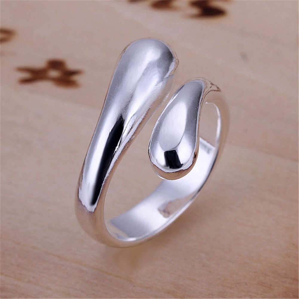 Silver Color Double Round Head Waterdrop Adjustable Size Ring New Fashion Wome Jewelry Unique Wedding Anniversary Gift
