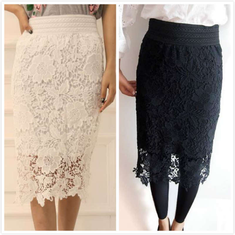 1a7bd47ade2 Women A-Line Hollow Out White Black Midi SKirt OL Pencil Long Skirt White  Black SKirt Lace Skirts