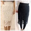 Women A-Line Hollow Out White Black Midi SKirt OL Pencil Long Skirt White Black SKirt Lace Skirts