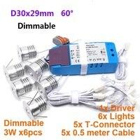 Comparar D30x29mm 110V 220V Mini lámpara de techo LED de punto regulable 3W Downlight 6 unids set